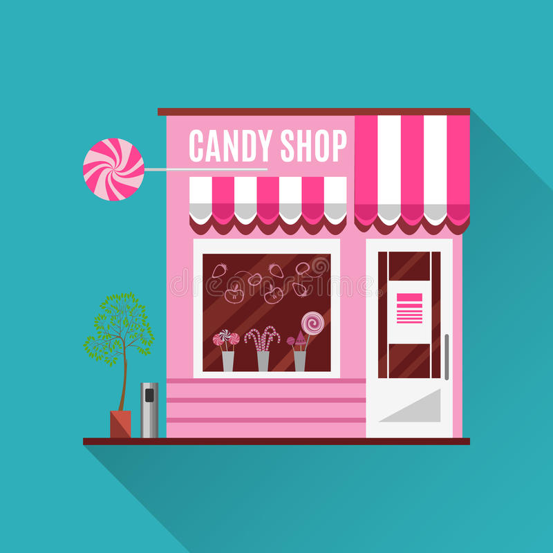 Candy shop in a pink color. Flat vector design. Candy shop in a pink color. Flat design vector illustration of small business concept.Tasty candies in a shop royalty free illustration