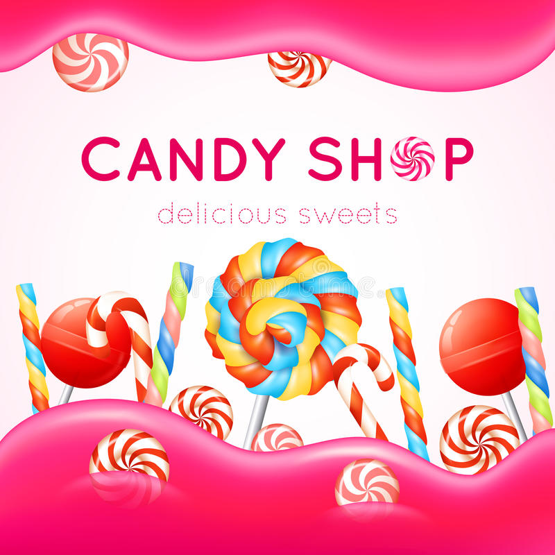Candy Shop Poster. With multicolored candies on white and pink background vector illustration stock illustration