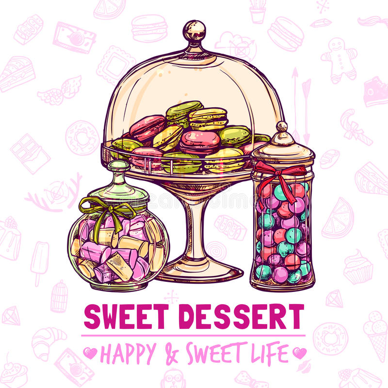 Candy Shop Poster. With sweets cookies and macarons sketch vector illustration stock illustration