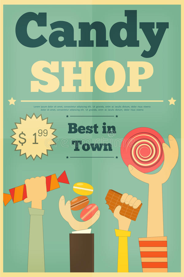 Candy Shop. Retro Poster with Hands Holding Sweet. Vector Illustration vector illustration
