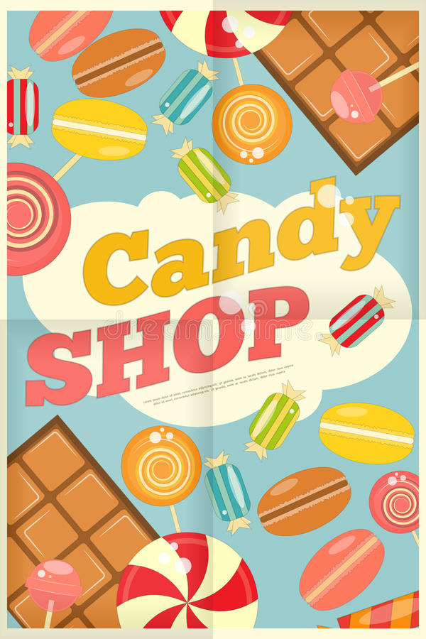 Candy Shop. Retro Poster with Sweets on Blue Background. Vector Illustration stock illustration