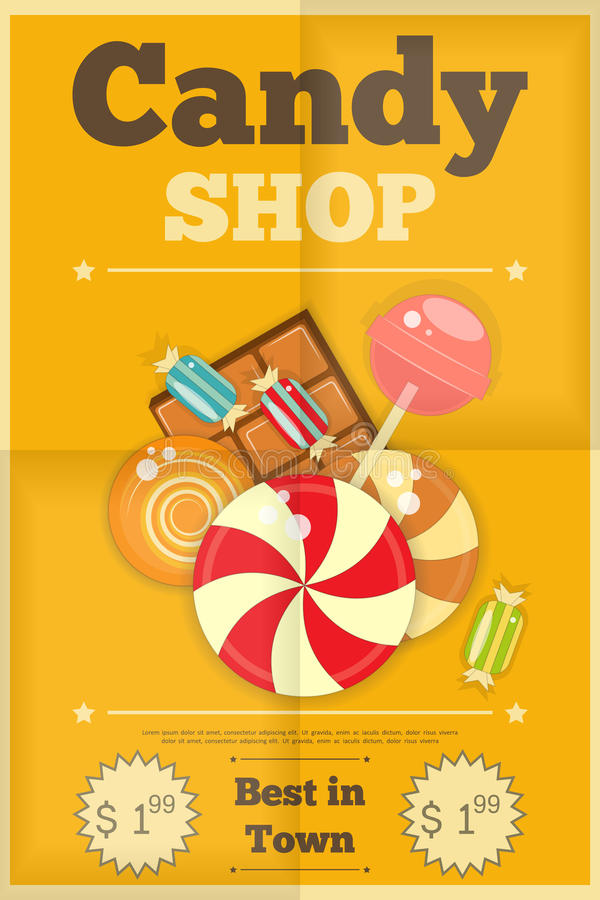 Candy Shop. Retro Poster with Sweets on Yellow Background. Vector Illustration royalty free illustration