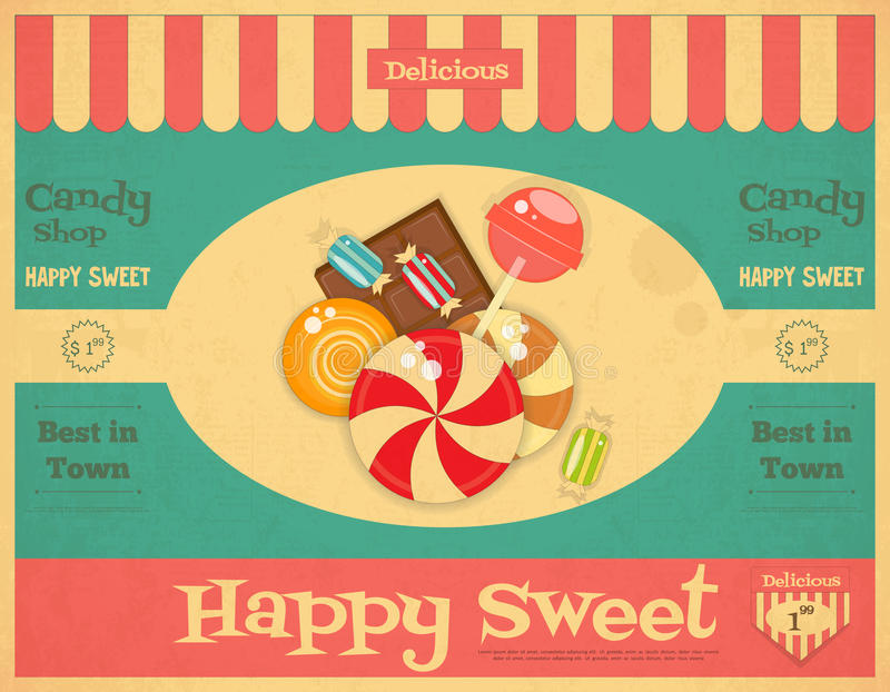 Candy Shop. Retro Poster in Vintage Style with Sweets. Vector Illustration royalty free illustration