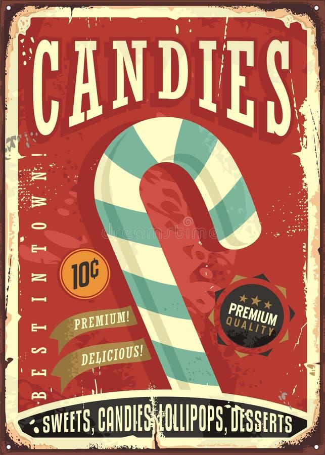 Candy shop retro sign design. On old worn tin texture. Vector illustration royalty free illustration