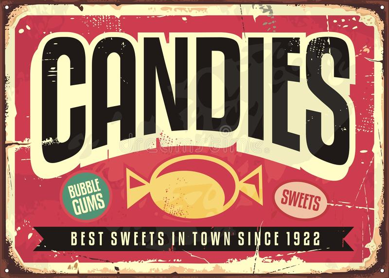 Candy shop retro tin sign. Candy shop retro advertisement on old metal background. Creative vector concept design with sweets and desserts promotional poster vector illustration