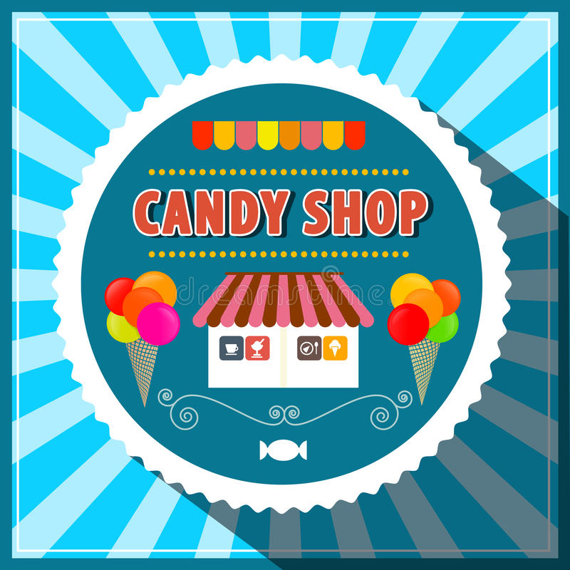 Candy Shop. Retro Vector Candy Shop Illustration. Candy Shop Paper Cut Label with Ice Creams and House on Blue Vintage Background vector illustration