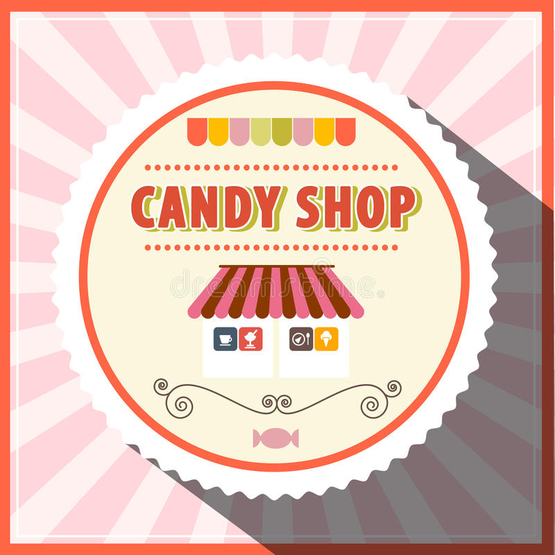 Candy Shop Retro Vector. Pink Label royalty free illustration