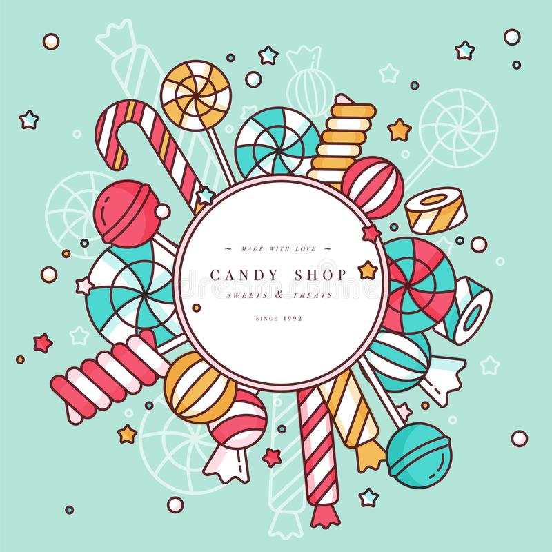 Candy shop round frame background with linear lollipops with sprinkles, spiral and caramel colorful sweets vector. Illustration stock illustration