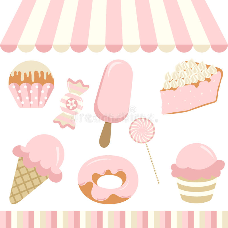 Candy Shop. Scalable vectorial image representing a candy shop digital collage, isolated on white stock illustration