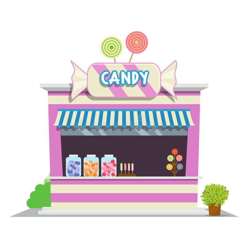 Candy shop illustration in cartoon style. Shop icon in flat style design. Candy shop with candy sign board, pink wall and awning. The facade of shop icon in stock illustration