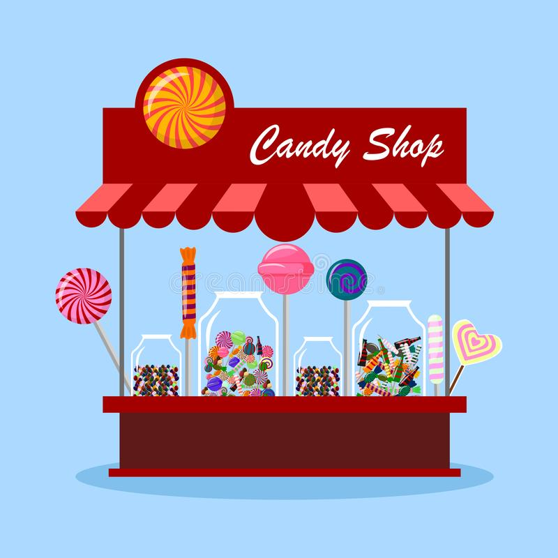 Free Candy Shop, Store In City. Sweet Candies In Glass Jar Isolated On Background. Lollipop, Chocolate Bar. Vector Cartoon Design Stock Images - 140389744