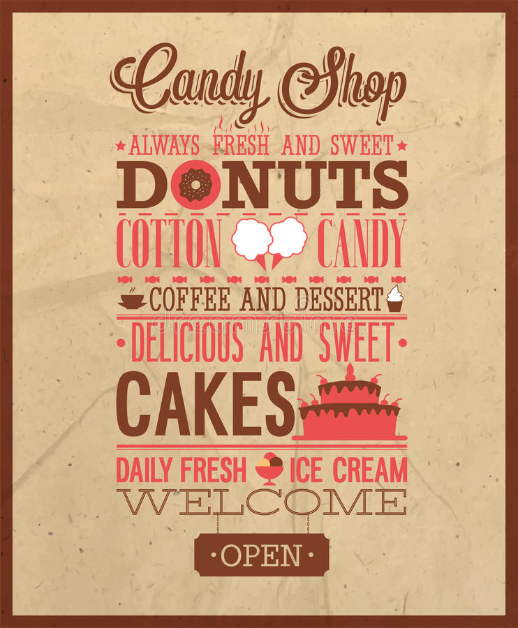 Candy shop text. Vector illustration royalty free illustration