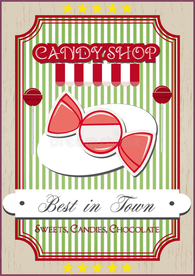 Candy shop. Vintage candy shop poster on a retro background stock illustration