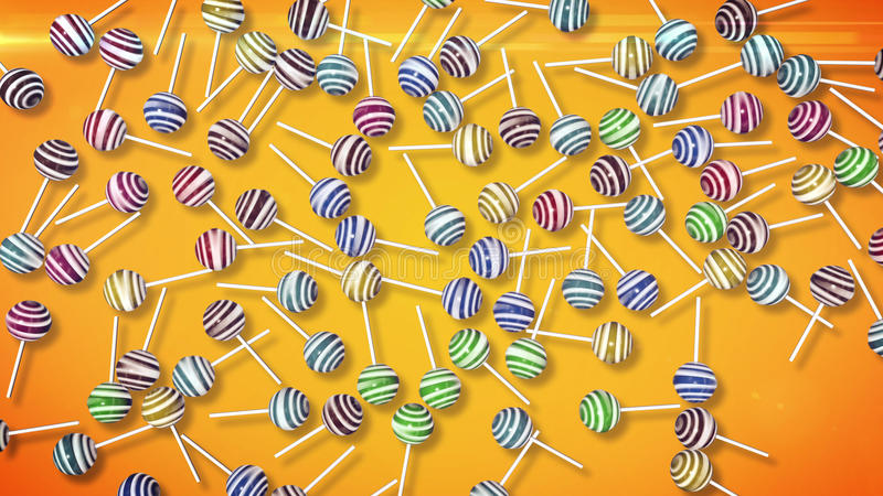 Candy on stick. 3d rendering of Lollipops. Candy on stick with twisted design royalty free illustration