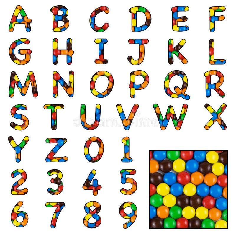 Candy sweet alphabet stock image