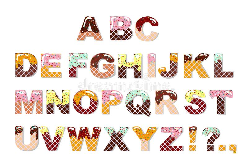 Candy sweet chocolate font. Ice cream alphabet. Wafer letters. Vector royalty free illustration