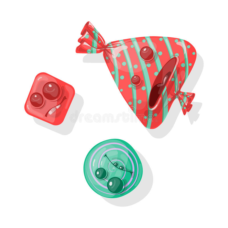 Candy. Sweet, expressing emotions. Bright wrapper stock illustration