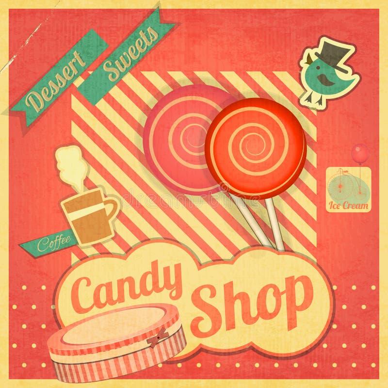 Candy Sweet Shop. Vintage Card Retro. illustration stock illustration