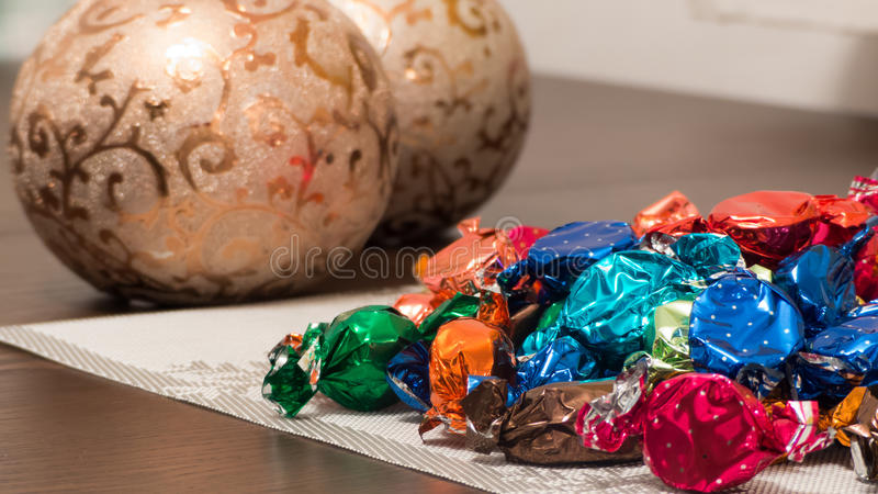 Candy on the table stock images