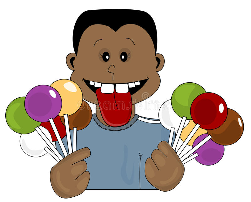 Candy Teen. Illustration of a teen holding lolly pop candy stock illustration