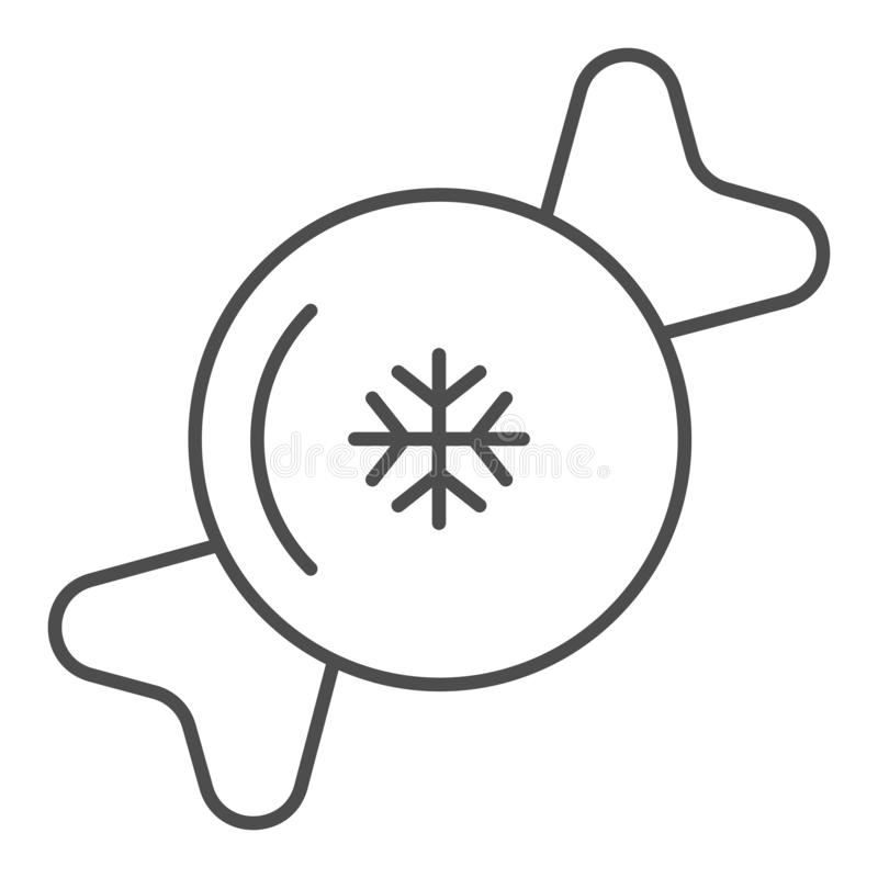 Candy thin line icon. Sweet vector illustration isolated on white. Lollipop with snowflake outline style design vector illustration