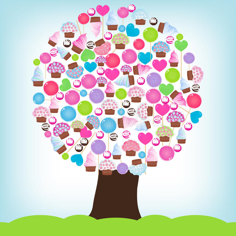 Candy tree vector illustration