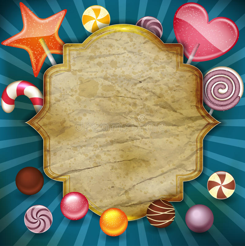 Candy with vintage label vector illustration