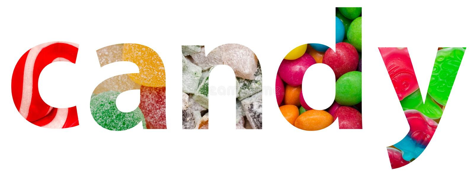 Candy Word Made Of Colorful Delicious Sweets royalty free stock images