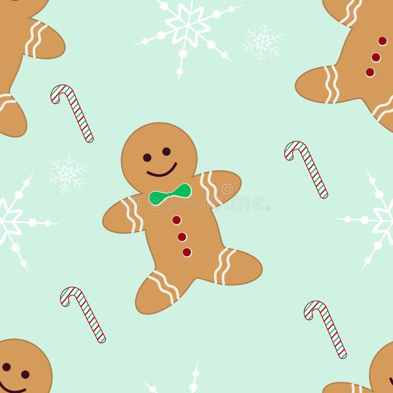 candycane άνευ ραφής snowflakes μελοψωμάτ&omega διανυσματική απεικόνιση