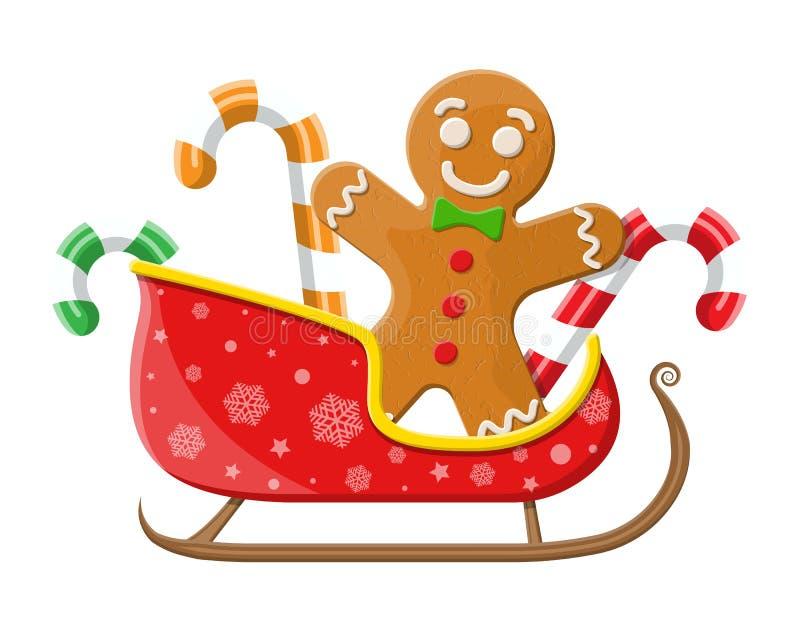 Candycane de la galleta del hombre de pan de jengibre en el trineo de santa ilustración del vector
