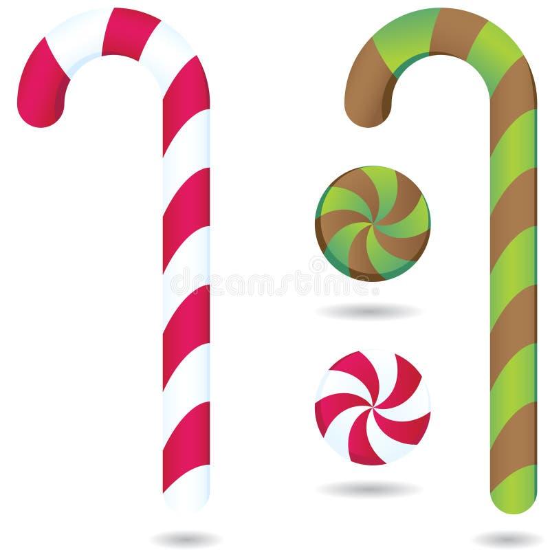 Candycanes e hierbabuenas stock de ilustración