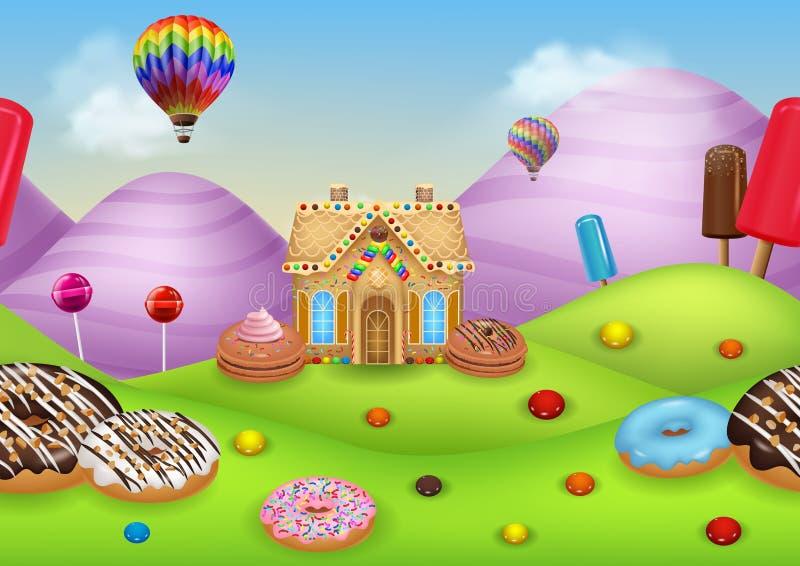 Candyland com casa de pão-de-espécie ilustração royalty free