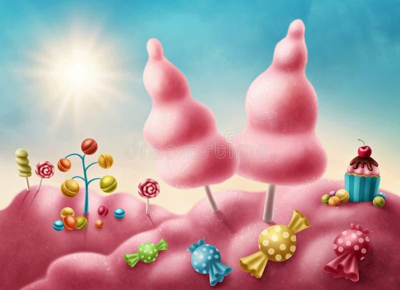 Candyland de la fantasía stock de ilustración