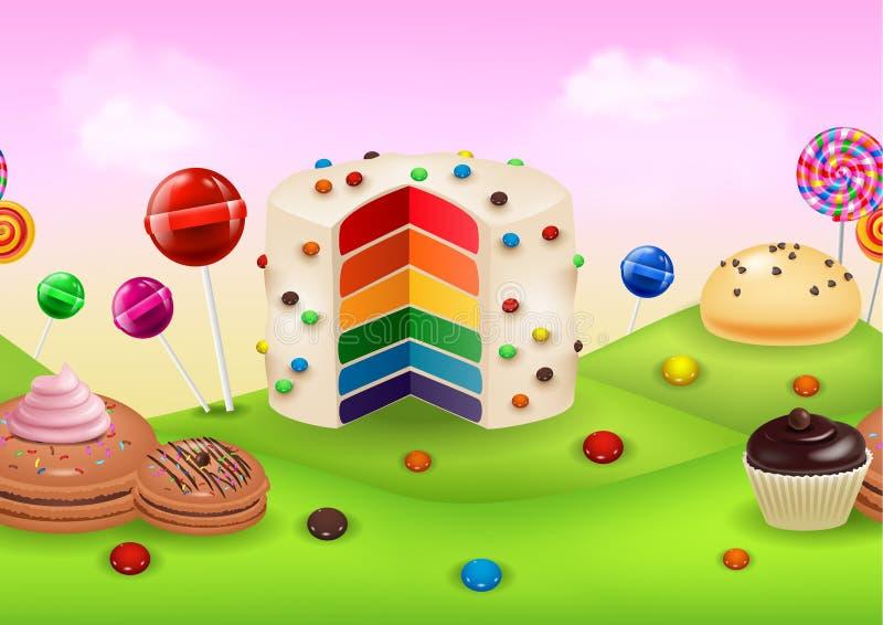 Candyland di fantasia con i dessrts ed i dolci royalty illustrazione gratis