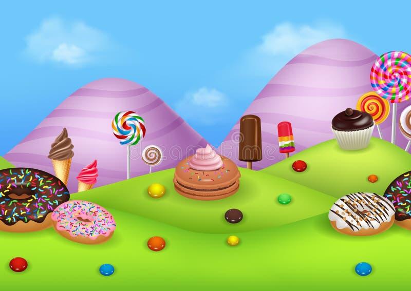 Candyland di fantasia con i dessrts ed i dolci illustrazione vettoriale