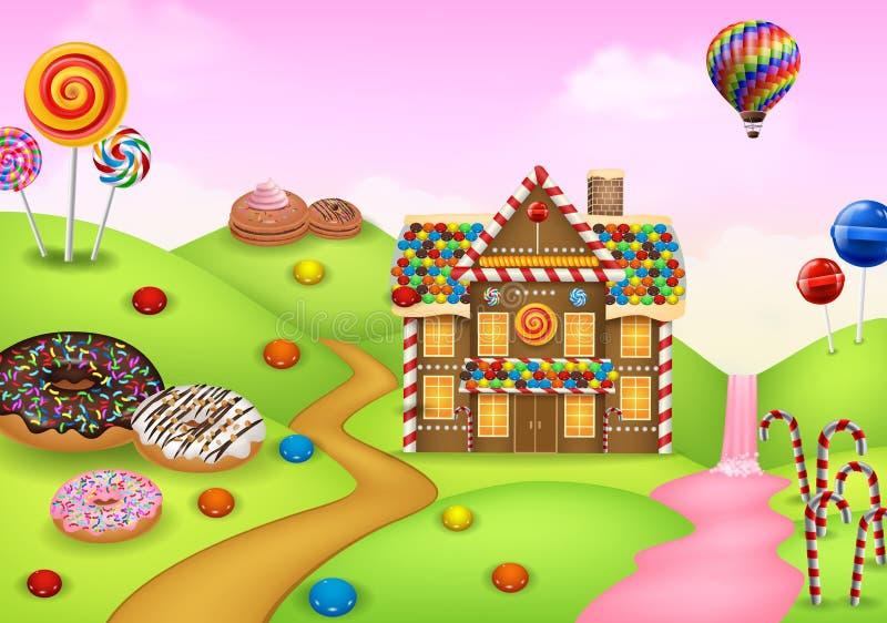 Candyland do doce da fantasia ilustração do vetor