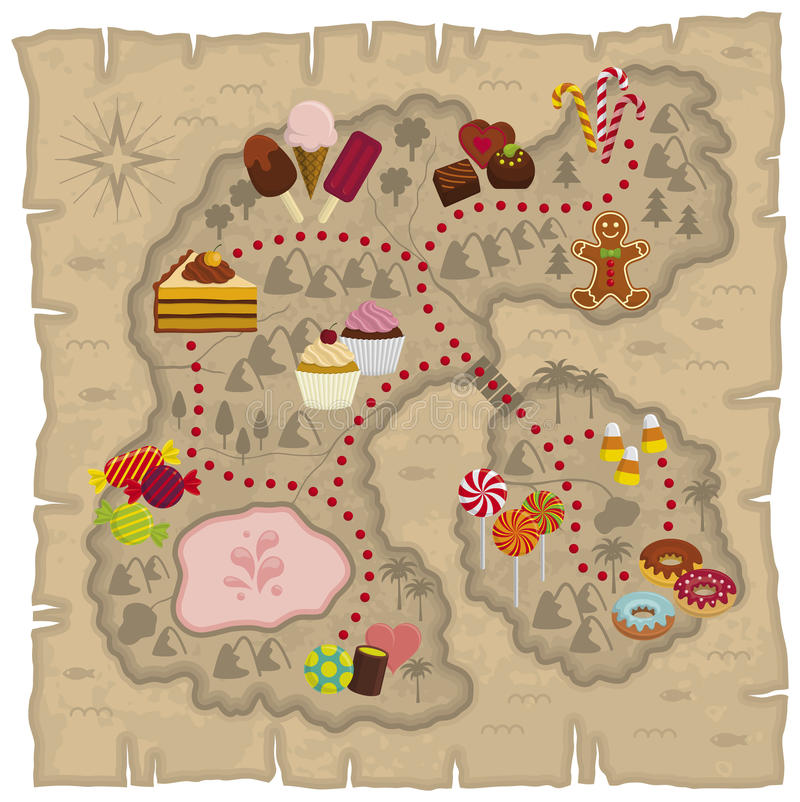 Candyland map. Illustration of kids dreamland map – candies and sweets land map