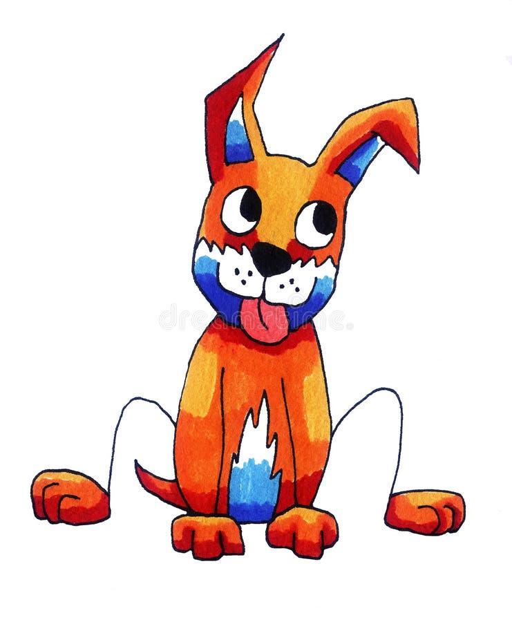 Cane arancio molto felice illustrazione di stock