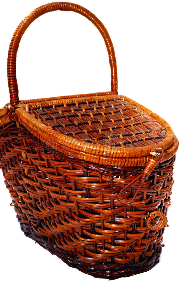 Cane Basket. Brown Cane Basket with white background stock photo