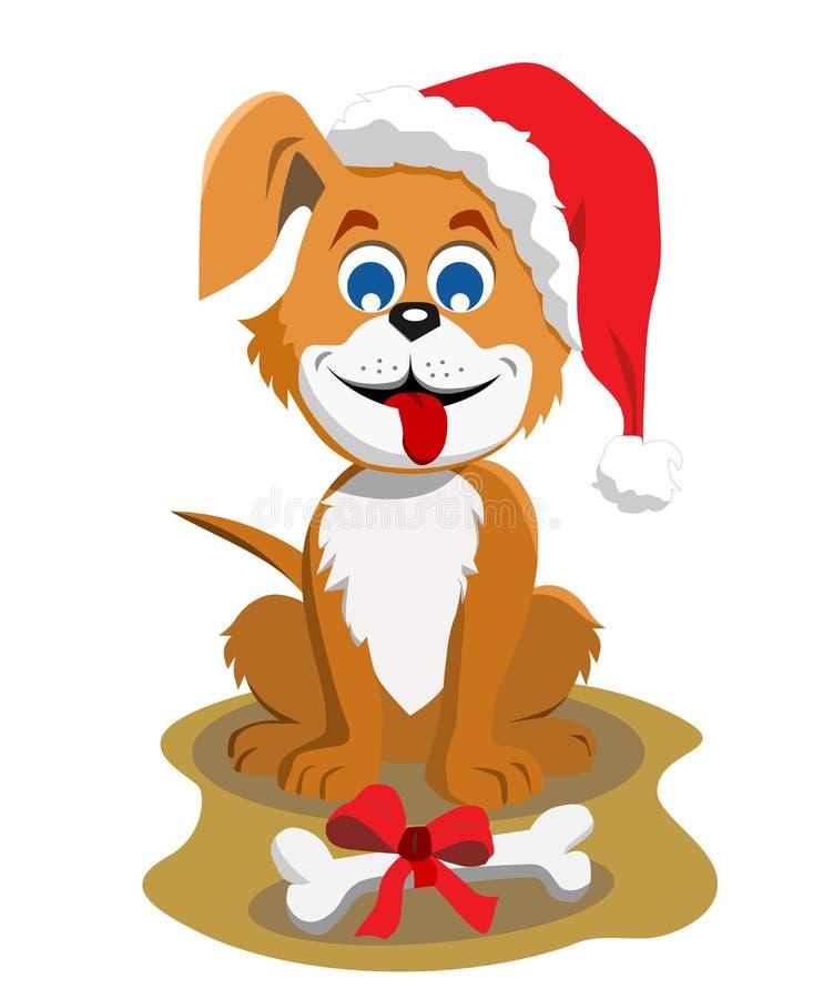 Cane Claus con l'osso di Natale royalty illustrazione gratis