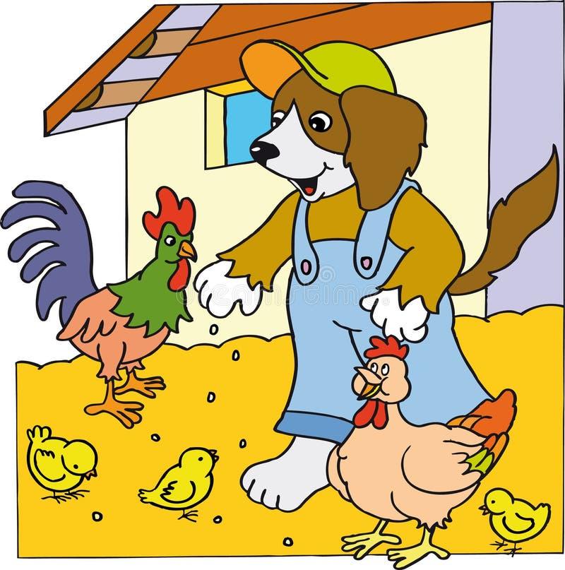 Cane con il pollo royalty illustrazione gratis