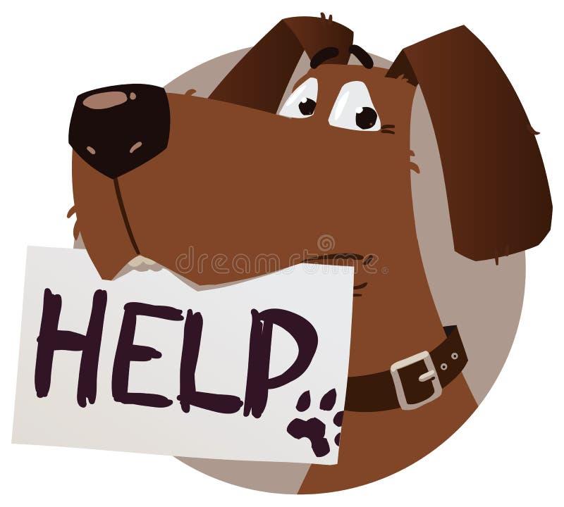 Cane con il segno di aiuto illustrazione di stock