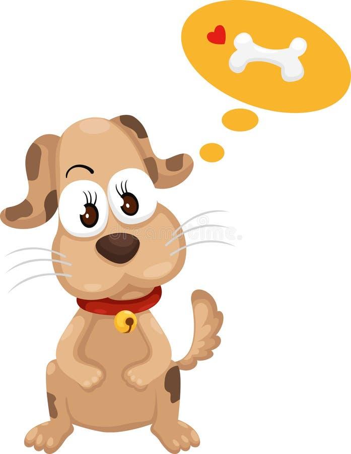 Cane con il vettore dell'osso illustrazione di stock