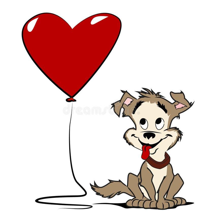 Cane con l'aerostato del cuore royalty illustrazione gratis