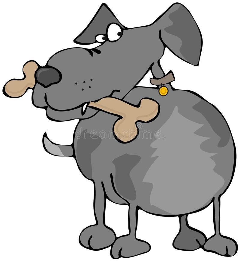 Cane con un osso illustrazione di stock