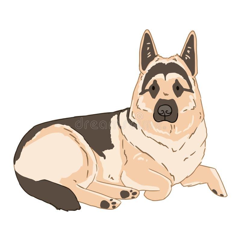 Cane da pastore tedesco di menzogne del fumetto su fondo bianco Illustrazione di vettore dell'immagine tirata semplice del cane S illustrazione di stock