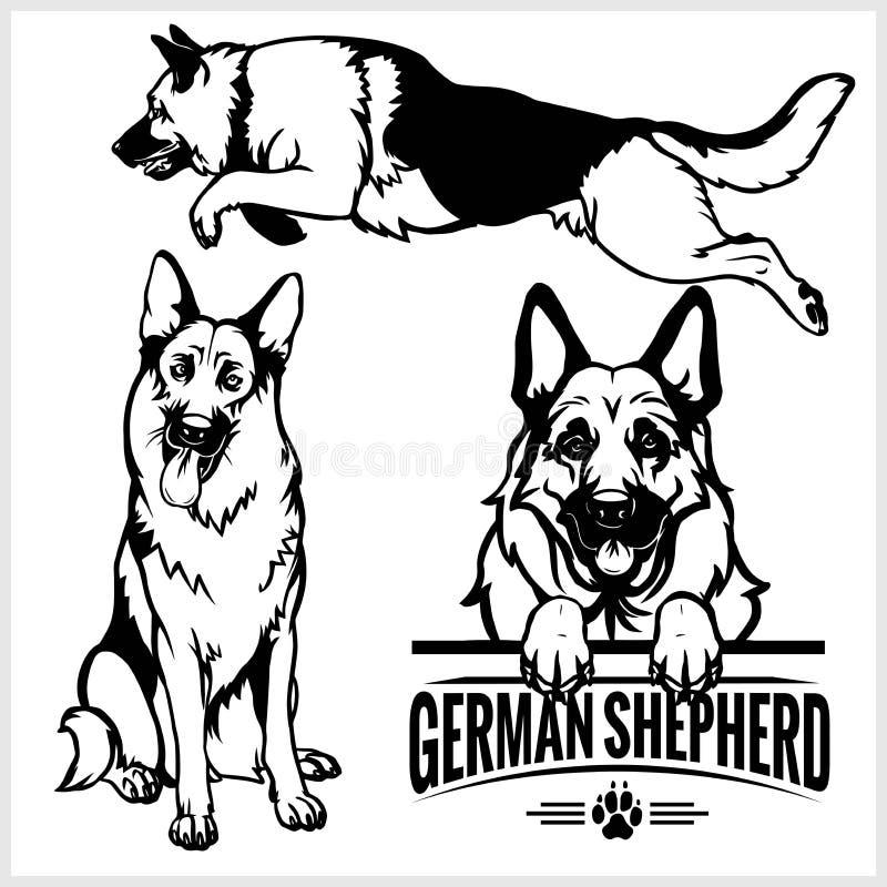 Cane da pastore tedesco - illustrazione isolata insieme di vettore su fondo bianco royalty illustrazione gratis