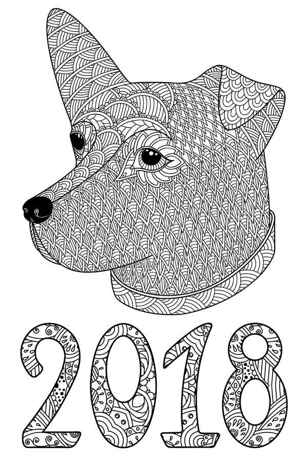 Cane decorativo in bianco e nero con i numeri 2018 illustrazione vettoriale