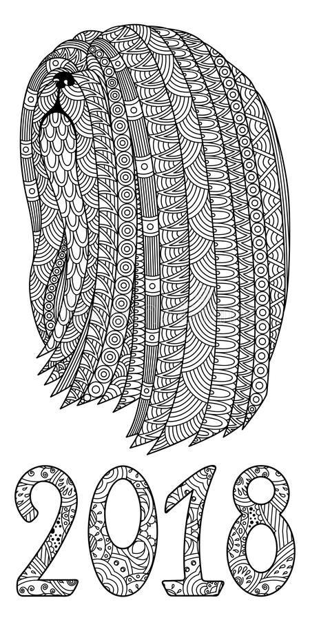 Cane decorativo in bianco e nero con i numeri 2018 royalty illustrazione gratis
