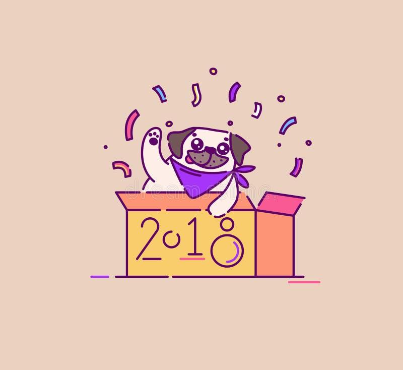 Cane del carlino in una scatola che celebra la nuova illustrazione piana di vettore di 2018 anni illustrazione vettoriale